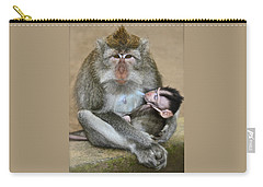 Mother Macaque And Her Baby Carry-all Pouch