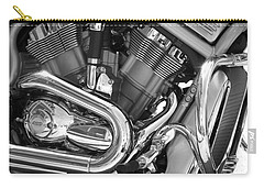 Motorcycle Close-up Bw 1 Carry-all Pouch