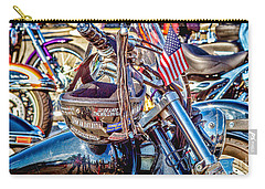 Carry-all Pouch featuring the photograph Motorcycle Helmet And Flag by Eleanor Abramson