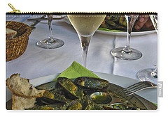 Carry-all Pouch featuring the photograph Moules And Chardonnay by Allen Sheffield