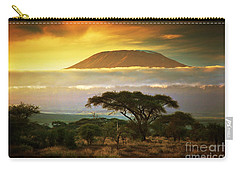 Mount Kilimanjaro Savanna In Amboseli Kenya Carry-all Pouch
