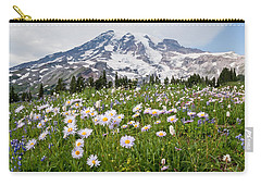 Carry-all Pouch featuring the photograph Mount Rainier And A Meadow Of Aster by Jeff Goulden