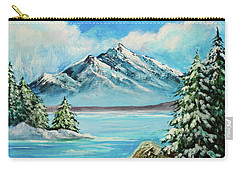 Carry-all Pouch featuring the painting Mountain Lake In Winter Original Painting Forsale by Bob and Nadine Johnston