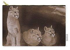 Mountain Lion Trio On Alert Carry-all Pouch