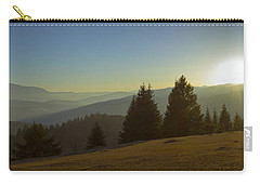 Mountain Panorama At Sunset With Beautiful Sun Glare Carry-all Pouch