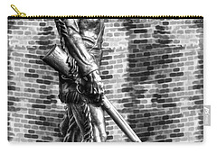 Mountaineer Statue With Black And White Brick Background Carry-all Pouch
