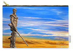 Mountaineer Statue With Blue Gold Sky Carry-all Pouch