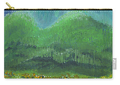 Carry-all Pouch featuring the painting Mountains At Night by Holly Carmichael