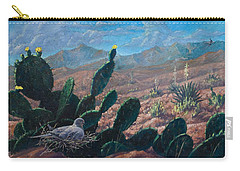 Carry-all Pouch featuring the painting Mourning Dove Desert Sands by Rob Corsetti