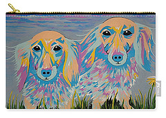 Mugi And Tatami - Contemporary Dachshunds Dog Art Carry-all Pouch