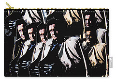 Carry-all Pouch featuring the photograph Multiple Johnny Cash In Trench Coat 1 by David Lee Guss