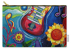Music On Flowers Carry-all Pouch by Genevieve Esson