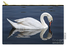 Carry-all Pouch featuring the photograph Mute Swan Kissing Its Reflection by Susan Wiedmann
