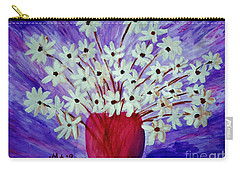 Carry-all Pouch featuring the painting My Daisies Blue Version by Ramona Matei