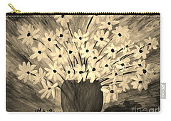 Carry-all Pouch featuring the painting My Daisies Sepia Version by Ramona Matei