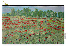 Carry-all Pouch featuring the painting My Poppies Field by Felicia Tica