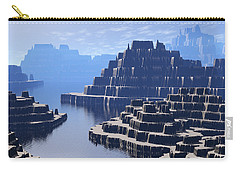 Carry-all Pouch featuring the digital art Mysterious Terraced Mountains by Phil Perkins