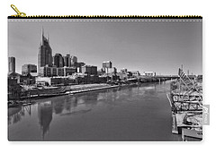 Nashville Skyline In Black And White At Day Carry-all Pouch by Dan Sproul