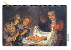 Carry-all Pouch featuring the painting Nativity Scene Study by Donna Tucker