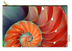 Carry-all Pouch featuring the painting Nautilus Shell - Nature's Perfection by Sharon Cummings