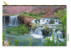 Carry-all Pouch featuring the photograph Navajo Falls by Alan Socolik