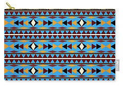 Navajo Blue Pattern Carry-all Pouch by Christina Rollo