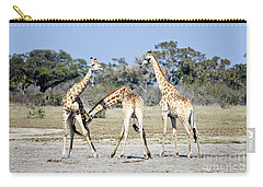 Carry-all Pouch featuring the photograph Necking Giraffes Botswana by Liz Leyden
