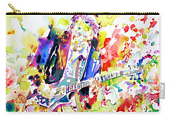 Neil Young Playing The Guitar - Watercolor Portrait.2 Carry-all Pouch