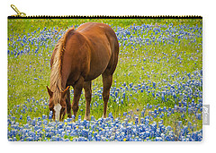 Nelly Grazing Among The Bluebonnets Carry-all Pouch by Dee Dee  Whittle