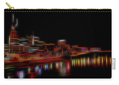 Neon Nashville Skyline At Night Carry-all Pouch by Dan Sproul