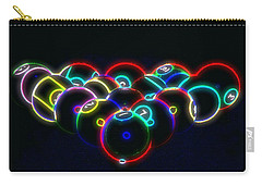Carry-all Pouch featuring the photograph Neon Pool Balls by Kathy Churchman