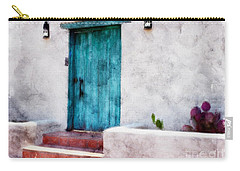 New Mexico Turquoise Door And Cactus  Carry-all Pouch by Barbara Chichester