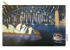 Carry-all Pouch featuring the painting New Year Eve On Sydney Harbour by Pamela  Meredith