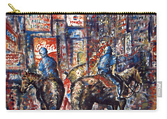 New York Broadway At Night - Oil On Canvas Painting Carry-all Pouch