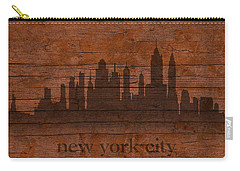 New York City Skyline Silhouette Distressed On Worn Peeling Wood Carry-all Pouch by Design Turnpike