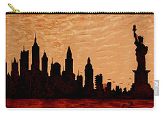 New York City Sunset Silhouette Carry-all Pouch by Georgeta  Blanaru