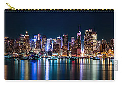 New York Panorama By Night Carry-all Pouch by Mihai Andritoiu