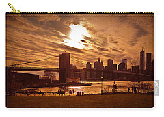 New York Skyline And Brooklyn Bridge -- Late Afternoon Carry-all Pouch