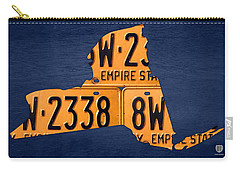 New York State License Plate Map Carry-all Pouch by Design Turnpike