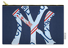 New York Yankees Baseball Team Vintage Logo Recycled Ny License Plate Art Carry-all Pouch
