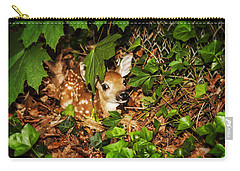 Carry-all Pouch featuring the photograph Newborn Fawn  by Eleanor Abramson
