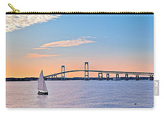 Newport Bridge Twilight Sunset With Sailboat Rhode Island Usa Carry-all Pouch