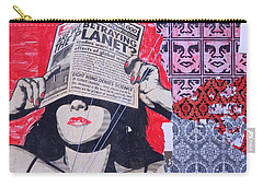 Carry-all Pouch featuring the photograph Shepard Fairey Graffiti Andre The Giant And His Posse Wall Mural by Kathy Barney
