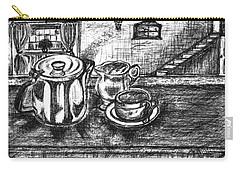 Carry-all Pouch featuring the drawing Nice Cup Of Tea by Teresa White