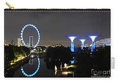Night Shot Of Singapore Flyer Gardens By The Bay And Water Reflections Carry-all Pouch