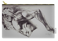 North American Minotaur Pencil Sketch Carry-all Pouch by Derrick Higgins