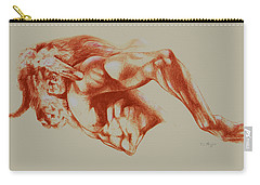 North American Minotaur Red Sketch Carry-all Pouch by Derrick Higgins