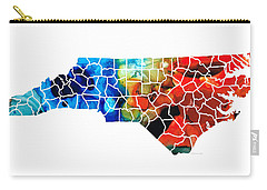 North Carolina - Colorful Wall Map By Sharon Cummings Carry-all Pouch by Sharon Cummings