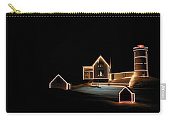 Nubble Lighthouse Christmas Lights Carry-all Pouch by Denyse Duhaime