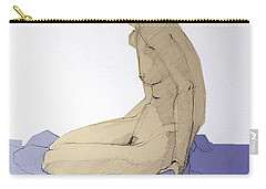 Carry-all Pouch featuring the drawing Nude Figure In Blue by Greta Corens